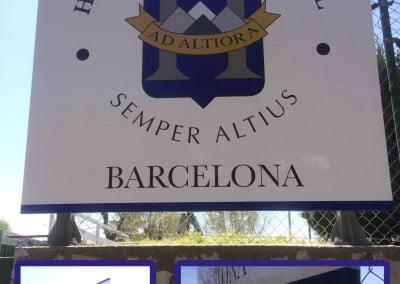 Cartel con vigas rotulado en vinilo instalado en Esplugues de Llobregat