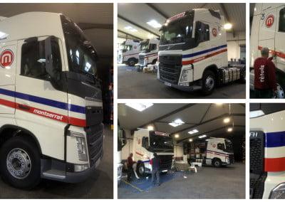 Rotulación de 3 nuevos camiones volvo en Veinsur Zona Franca Barcelona