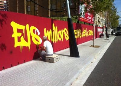 Rotulación directa sobre pared en obra de Barcelona